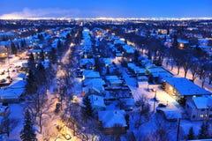 l'hiver de nuit d'Edmonton de ville Photographie stock