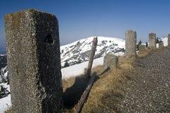 l'hiver de panorama de montagnes de krkonose Images stock