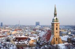 l'hiver de soirée de Bratislava Image libre de droits