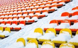 L'hiver de stades couvert de neige Image stock