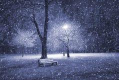 l'hiver de stationnement de nuit Image libre de droits