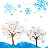 l'hiver de vecteur d'arbre de fond illustration libre de droits