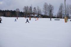 L'hiver en Tchèque Téléski en montagnes Photo stock
