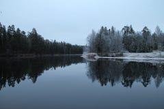 L'hiver est près au parc national d'Oulanka Photo libre de droits