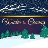 L'hiver est prochaine image pourpre de vecteur de fond Photographie stock libre de droits