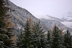 L'hiver est venu dans les montagnes images libres de droits