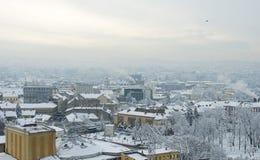 L'hiver extrême en Europe Photographie stock