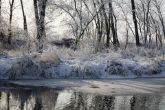 L'hiver - fleuve dans le givrage Image libre de droits