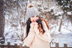 L'hiver La fille apprécie la neige Photos stock