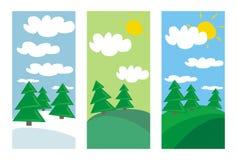 L'hiver, le printemps et l'été aménagent en parc avec des arbres Images stock