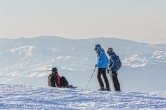 l'hiver neigeux kiting de sports de ski de fleuve Photographie stock