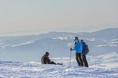 l'hiver neigeux kiting de sports de ski de fleuve Images libres de droits