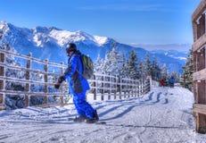 l'hiver neigeux kiting de sports de ski de fleuve image stock