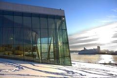 l'hiver norvégien d'Oslo d'opéra image stock