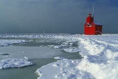 L'hiver, phare de la Hollande Image stock
