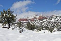 L'hiver rouge de pays de roche Photo libre de droits