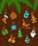 L'hiver saisonnier de Joyeux Noël et de bonne année cardent le fond avec des guirlandes de cordages d'armement avec des éléments  illustration stock