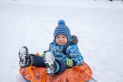 l'hiver sledding de temps Image stock