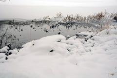 L'hiver sur le lac Belles vues dégelées images libres de droits