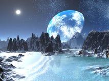 L'hiver Terre-se lèvent des rivages étrangers illustration stock