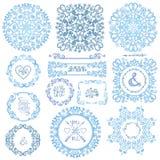 L'hiver tourbillonne décor Vue, guirlande, ensemble de mandala Photographie stock libre de droits
