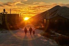 L'hiver Un gel la famille va sur une baisse Photographie stock libre de droits