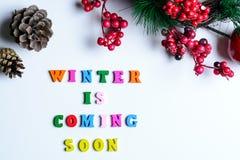 L'hiver viendra bientôt L'expression a garni des lettres en bois colorées sur le fond blanc avec les cônes de pin, la branche de  photo stock