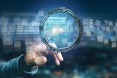 L'hologramme fait de roue avec des données futuristes de finances connectent Photo libre de droits
