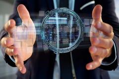 L'hologramme fait de roue avec des données futuristes de finances connectent Photographie stock libre de droits