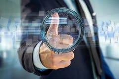 L'hologramme fait de roue avec des données futuristes de finances connectent Images stock