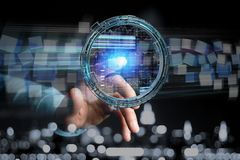 L'hologramme fait de roue avec des données futuristes de finances connectent Image libre de droits