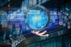 L'hologramme fait de roue avec des données futuristes de finances connectent Images libres de droits