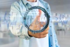 L'hologramme fait de roue avec des données futuristes de finances connectent Photographie stock