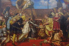 L'hommage prussien, une huile sur la peinture de toile par le peintre polonais Jan Matejko photo stock
