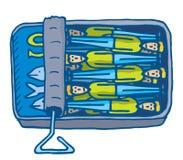 L'homme à l'étroit ensemble en petites sardines peut illustration de vecteur