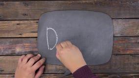 L'homme écrit le mot TIRET avec la craie sur un tableau, stylisé comme pensée clips vidéos