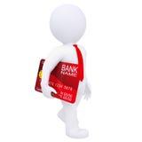 l'homme 3d porte une carte de crédit Images stock