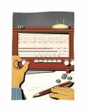 L'homme accorde la vieille radio, attrape l'onde radio Transmission des informations classifiées L'analyse financière illustration stock