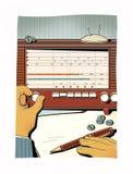 L'homme accorde la vieille radio, attrape l'onde radio Transmission des informations classifiées L'analyse financière illustration de vecteur