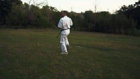 L'homme adulte dans le kimono blanc et avec la ceinture noire se déclenche des battements de karaté en parc de ville à l'aube clips vidéos