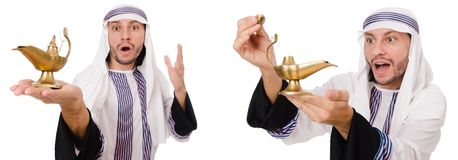 L'homme arabe avec la lampe d'isolement sur le blanc photographie stock