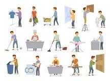 L'homme aux activités de ménage a placé, toilette de lavage de achat de plats de plancher d'hommes, fenêtres à la maison de netto illustration de vecteur