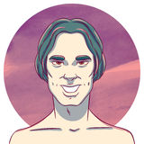 L'homme avec de longs cheveux foncés sur un fond d'aquarelle entoure illustration libre de droits