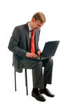 L'homme avec l'ordinateur Images stock