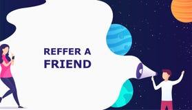 L'homme avec le concept de mégaphone se réfèrent un ami, recommandent un ami Concept d'affaires de page de débarquement, recherch illustration stock
