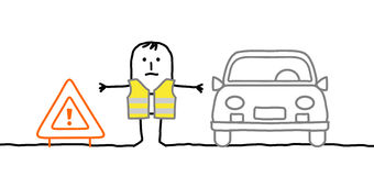 L'homme avec le kit de sécurité s'est arrêté sur la route Images libres de droits