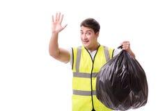L'homme avec le sac à déchets d'isolement sur le blanc photographie stock libre de droits