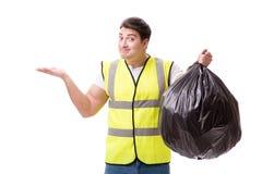 L'homme avec le sac à déchets d'isolement sur le blanc photos libres de droits