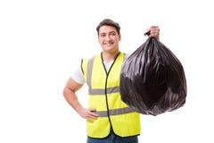 L'homme avec le sac à déchets d'isolement sur le blanc photo libre de droits
