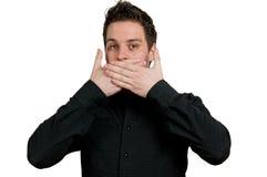 L'homme avec remet sa bouche Photos stock